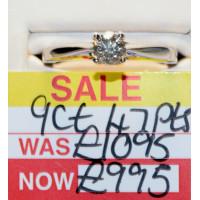 9ct White Gold Single Stone (0.47ct) Diamond Ring R7370A-9G383PD