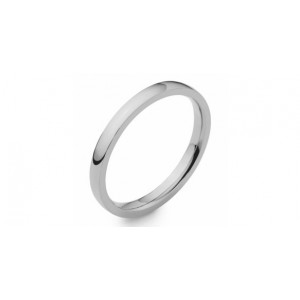 18ct White Gold Soft Court 3mm Wedding Band 12A3/3 Size L SPECIAL OFFER