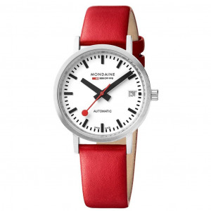 Mondaine Automatic Red Leather Strap Watch A128.30008.16SBC