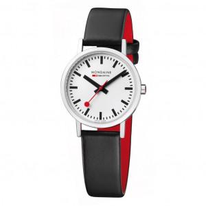 Mondaine Classic 30 mm, black leather watch, A658.30323.16SBB