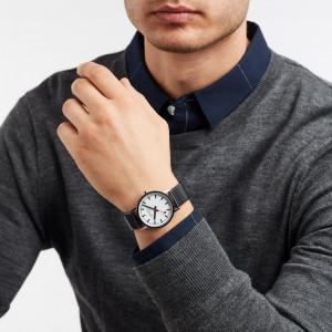 Mondaine Classic, black leather watch, A660.30314.11SBB