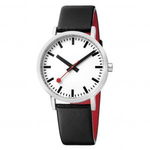 Mondaine 36mm Black Leather Strap Watch A660.30314.11SBB
