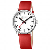 Mondaine EVO2 40mm Red Leather Watch MSE.40110.LC