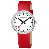 Mondaine Giant 35mm Red Leather Watch MSX.3511B.LC