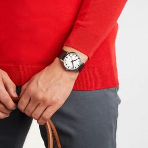 Mondaine Classic 40mm Black Leather Strap Watch A660.30360.16OM