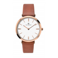 Accurist London Ladies Tan Strap Watch In Rose Gold Plt 8185