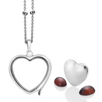 Anais Sterling Silver January Garnet Heart Locket Set  AS004