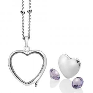 Anais Sterling Silver February Amethyst Heart Locket Set AS005