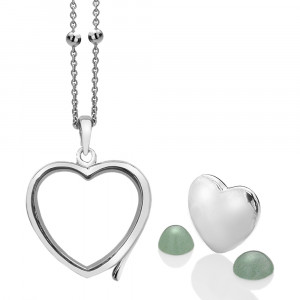 Anais Sterling Silver March Green Aventurine Heart Locket Set AS006