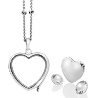 Anais Sterling Silver April White Topaz Heart Locket Set AS007