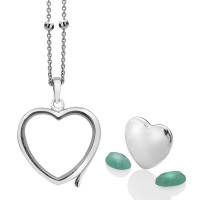 Anais Sterling Silver May Emerald Heart Locket Set AS008