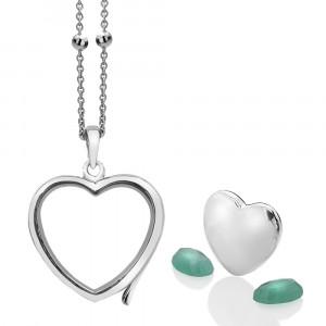 Anais Sterling Silver May Emerald Heart Locket Set AS008