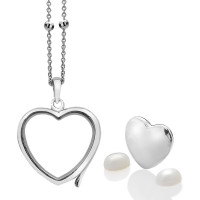 Anais Sterling Silver June Genuine Moonstone Heart Locket Set AS009