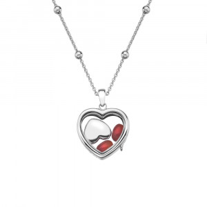 Anais Sterling Silver July Red Carnelian Heart Locket Set AS010