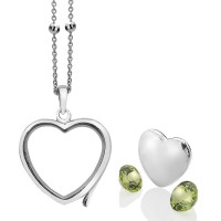 Anais Sterling Silver August Peridot Heart Locket Set AS011