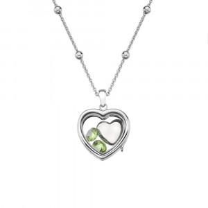 Anais Sterling Silver August Peridot Heart Locket Set AS011