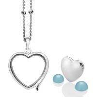 Anais Sterling Silver September Blue Agate Heart Locket Set AS012