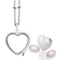 Anais Sterling Silver October Rose Quartz Heart Locket Set AS013