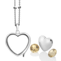 Anais Sterling Silver November Citrine Heart Locket Set AS014
