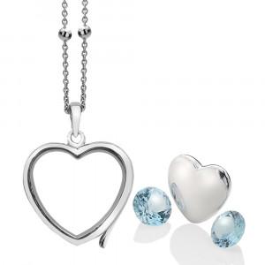Anais Sterling Silver December Blue Topaz Heart Locket Set AS015