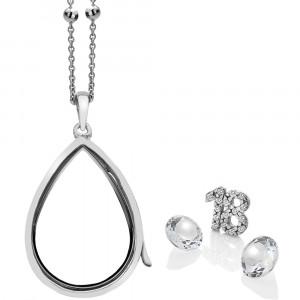 Anais Sterling Silver 18 Charm & White Topaz Teardrop Locket Set AS016