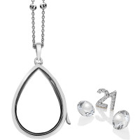 Anais Sterling Silver 21 Charm & White Topaz Teardrop Locket Set AS017