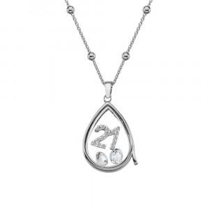 Anais Sterling Silver 21 Charm & White Topaz Teardrop Locket Set AS017