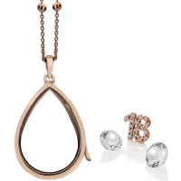 Anais Sterling Silver & Rose Gold Plated 18 Charm & White Topaz Teardrop Locket Set AS018