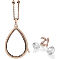 Anais Sterling Silver & Rose Gold Plated 21 Charm & White Topaz Teardrop Locket Set AS019