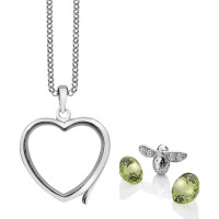 Anais Sterling Silver Bee & Peridot Heart Locket Set AS020