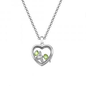 Anais Sterling Silver Bee & Peridot Heart Locket Set AS020
