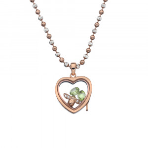 Anais Sterling Silver & Rose Gold Plated Bee Charm & Peridot Heart Locket Set AS021