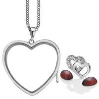 Anais Sterling Silver Double Heart Charm & Garnet Heart Locket Set AS022
