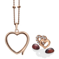 Anais Sterling Silver & Rose Gold Plated Double Heart Charm & Garnet Heart Locket Set AS023