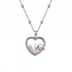 Anais Sterling Silver Mum Charm & Rose Quartz Heart Locket Set AS024