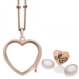 Anais Sterling Silver & Rose Gold Plated Mum Charm & Rose Quartz Heart Locket Set AS025