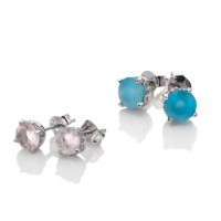 Anais  Sterling Silver Real Gemstone Stud Earrings AE00