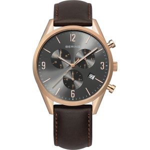 (Bering Gent s Rose Coloured Gold Plated Strap Watch 10542-562)