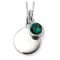 MAY Sterling Silver Swarovski Birthstone Pendant & Chain with Engraveable Tag (Matching Earrings Available)