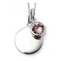 JUNE Sterling Silver Swarovski Birthstone Pendant & Chain with Engraveable Tag (Matching Earrings Available)