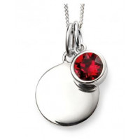 JULY Sterling Silver Swarovski Birthstone Pendant & Chain with Engraveable Tag (Matching Earrings Available)