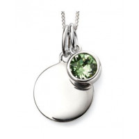 AUGUST Sterling Silver Swarovski Birthstone Pendant & Chain with Engraveable Tag (Matching Earrings Available)