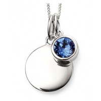 SEPTEMBER Sterling Silver Swarovski Birthstone Pendant & Chain with Engraveable Tag (Matching Earrings Available)