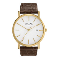 Bulova Gents Classic Brown Strap Watch 97B100