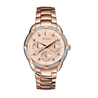 Bulova Women's Diamond Accent Rose Plated Bracelet Watch 98R178