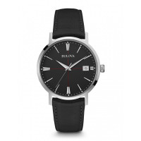 Bulova Gents Classic Black Strap Watch 96B243