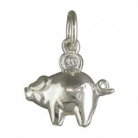 Silver Money Pig Charm