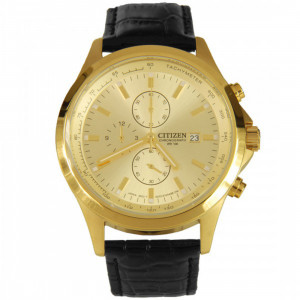 Citizen Gold Plated Chronograph, Leather Strap Watch AN3512-03P