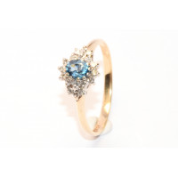 9ct Gold Diamond and Topaz Cluster Ring 9Y40TDIA