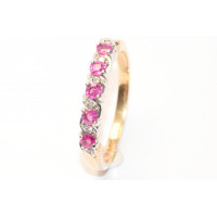 9ct Gold Diamond and Ruby Half Eternity Ring